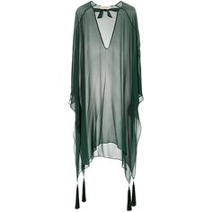 Adriana Degreas silk kaftan ($535) ❤ liked on Polyvore featuring tops, tunics, green, loose tops, long sleeve tops, green top, long sleeve tunic and green silk top