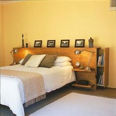 Headboard - DIY instructions from Home Magazine:  http://homemag.co.za/diy/a-headboard-with-storage