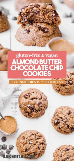 These naturallyFlourless Almond Butter Chocolate Chip Cookies are so tender that they melt in your mouth! These flavorful cookies have just 5 ingredients and they are gluten-free, Paleo, refined sugar-free and vegan. Healthy Vegan Cookies, Paleo Cookies, Healthy Cookie Recipes, Best Gluten Free Recipes, Gluten Free Cookies, Healthy Baking, Baking Recipes, Healthy Treats, Vegetarian Recipes