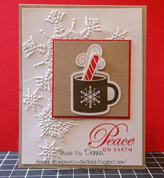 SU Scentsational Season stamp set and the Northern Flurry embossing folder Hanukkah Cards, Holiday Cards, Christmas Cards, Christmas Cup, Crochet Christmas, Christmas Stuff, Christmas 2019, Stampin Up Christmas, Handmade Christmas