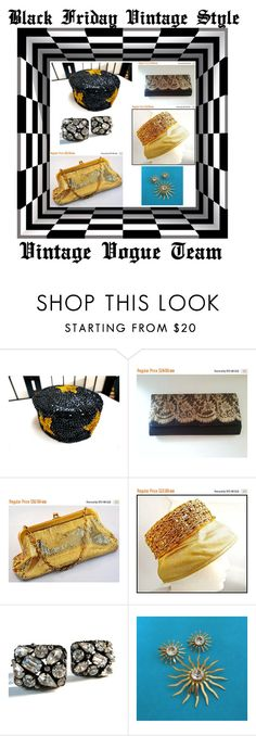 """""""Black Friday Vintage Style"""" by martinimermaid ❤ liked on Polyvore featuring Whiting & Davis, Sarah Coventry and vintage"""
