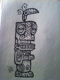 Tiki and bird drawing tattoo by Tiki tOny