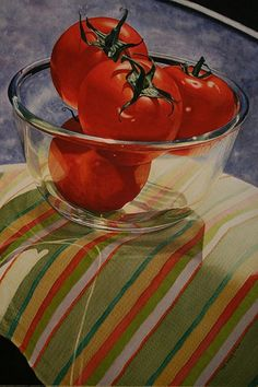 """Sweet Tomatoes"" - Karin Isenburg, watercolor {realism art fruit still life art painting Watercolor Fruit, Watercolor Journal, Watercolor Paintings, Watercolours, Realistic Paintings, Veggie Art, Still Life Fruit, Still Life Drawing, Realism Art"
