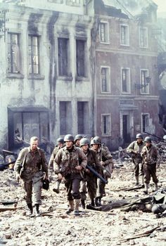 The two squads in Saving Private Ryan by Steven Spielberg. Great Films, Good Movies, Steven Spielberg Filmography, Saving Private Ryan, The Blues Brothers, War Film, Iconic Movies, About Time Movie, Film Stills