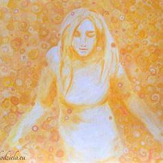 'Ona' 'She'  Obraz na kartonie, olej.  #yellow #woman #slonce Rekodziela.eu