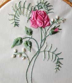 This Rose is Brazilian Embrodiery with a touch of Stumpwork it is from a design by Debbie Kelley.  Initially it seems rather daunting but i...