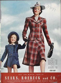 Stunning tartan coat and skirt, with tilted hat. Sears, Roebuck and Co. 1940s Fashion, Vintage Fashion, Club Fashion, Classic Fashion, Vintage Vogue, Woman Fashion, Fall Fashion Outfits, Autumn Fashion, 1940s Woman
