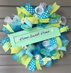 Spring Summer Wreath, Spring Summer Wreath, Mesh Wreath, Mesh Summer Wreath, Home Sweet Home Wreath, Curly Mesh Wreath, Green Blue Wreath, Welcome Wreath The colors on this wreath will catch the eye of all that visit your home. Base is made up of white, turquoise blue and a multi