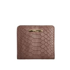 Taupe Mini Foldover Wallet - Embossed Python
