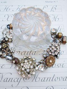Vintage Rhinestone Button Bracelet Number 24 by PaulaMontgomery, $90.00
