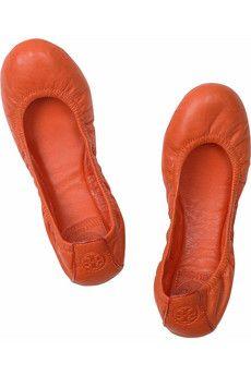 TORY BURCH Eddie leather ballerina flats £171.73 Love the colour!