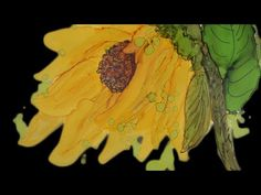 Alcohol Ink Sunflower and Lilac Painting on Yupo - Learn to paint with Inks - YouTube