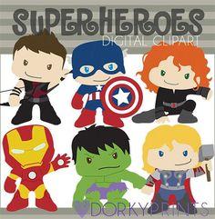 Clip art de superhéroe-Personal y limitada comercial uso - Super Heroes imágenes prediseñadas