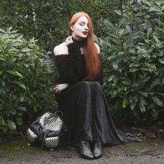 Olivia Emily - Regalrose Lace Collar, Similar Fluffy Off Shoulder Sweater, Black Milk Clothing Burned Velvet Maxi Skirt, Rebecca Minkoff Studded Backpack, Vintage Lace Up Booties - Forest Fairy (...I wish)
