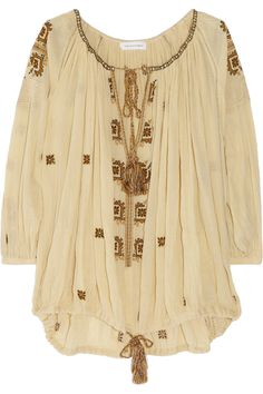 Étoile Isabel Marant|Baker embroidered cotton-gauze smock top|NET-A-PORTER.COM