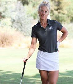 Female Golfer in black shirt & white dress Girls Golf, Ladies Golf, Mens Golf Fashion, Cute Golf Outfit, Golf Pictures, Sexy Golf, Girls In Mini Skirts, Golf Wear, Female Athletes