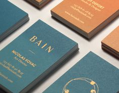 BAIN Silk Printed Business CardsBAIN is a swimwear brand recently created in Biarritz, France. It's the shared visions of Nicolas & Cindy, two friends & designers inspired by their love for the 70's, Arts, Surf & simple moments. www.bainiade.com-Th…