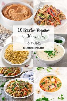 10 Recetas Veganas en 30 Minutos o Menos These 10 vegan recipes are ready in 30 minutes or less. There are no excuses for not eating healthy and rich! Vegan Blogs, Healthy Food Blogs, Raw Food Recipes, Vegetable Recipes, Vegetarian Recipes, Healthy Eating, Cooking Recipes, Healthy Recipes, Vegan Cru