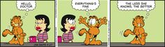 "Created by Jim Davis, Garfield is about the famous fat cat and his hilarious daily adventures with his ""pal"" Odie and others. Garfield Cartoon, Garfield And Odie, Garfield Comics, A Comics, Jim Davis, Lazy Cat, Fat Cats, Calvin And Hobbes, Humor"