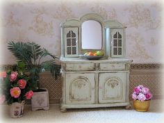 Shabby Cottage Sideboard in pale green by MiniAbuela on Etsy,