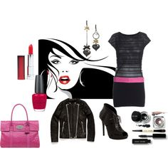 Black & Hot Pink~, created by akbecca on Polyvore