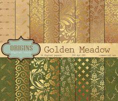 Golden Meadow  16 Pack Gold Leaf Autumn by OriginsDigitalCurio
