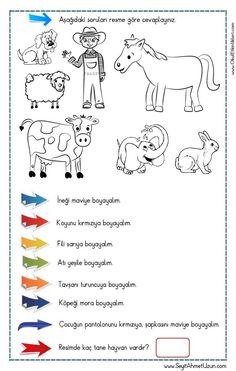 OKUDUĞUNU ANLAMA – Oku – Boya Çalışması 1 pdf formatında özgün bir çalışma olarak hazırlanmıştır. Aşağıda bulunan linkten kolayca indirebilirsiniz. Tüm çalışmalarımızı kendi emeklerimizle özgün.. 1st Grade Activities, Gross Motor Activities, Sensory Activities, Turkish Lessons, Learn Turkish, Turkish Language, Following Directions, Social Stories, Preschool Worksheets