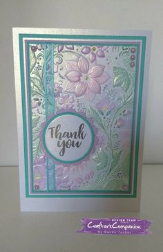 Crafters Companion embossing folders create this beautiful card.