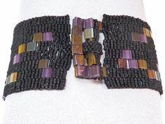 Deep Purple Sky Beadwoven Cuff Bracelet by LittlestoneDesign