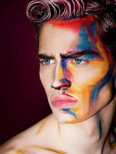 Maquillage Halloween homme aquarelle