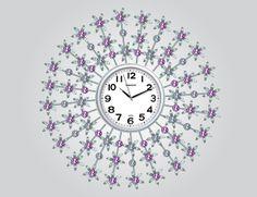 Mor Çiçekli Ferforje Duvar Saati  Ürün Bilgisi;  Ürün resimde olduğu gibidir Metal gövde Gerçek cam Sessiz akar saniye Çap : 62 cm Gayet şık ve hoş duvar saati