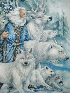 Father Yule and friends. Father Christmas, Blue Christmas, Christmas Pictures, Vintage Christmas, Christmas Trees, Christmas Mantles, Woodland Christmas, Victorian Christmas, Primitive Christmas