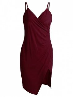 Spaghetti Strap Ruched Asymmetric Bodycon Dress - Wine Red S Tight Dresses, Trendy Dresses, Cute Dresses, Summer Dresses, Bodycon Cocktail Dress, Red Bodycon Dress, Ruched Dress, Dress Red, Cocktail Dresses