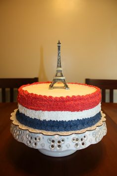 DIY French Birthday Cake - I made this cake for my daughter, not to shabby! The blue, white and red represent the French flag.
