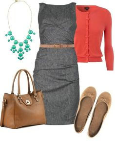 This outfit best describes my work style. Large light-weight bag, flats, sweater or jacket, and interesting colors. I'd switch the necklace for similar earrings if necklaces are heavy.