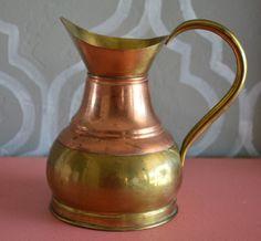 "Vintage Brass & Copper Pitcher 6"" Tall"