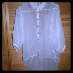 I just discovered this while shopping on Poshmark: High Low Sheer Collared Blouse w Cut Out Back. Check it out! Price: $4 Size: M