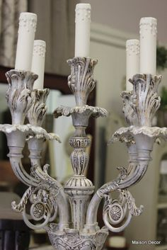 Gold to Silver! First paint a gold candelabra lamp with French Linen and Old White mix of Chalk Paint® and then add silver gilding wax  for a silvery glamorous result!