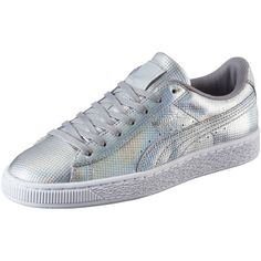 Puma Basket Holographic Women's Sneakers (105 AUD) ❤ liked on Polyvore featuring shoes, sneakers, puma silver, hologram sneakers, print shoes, laced sneakers, puma shoes and puma sneakers
