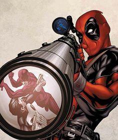 Marvel Comics character, Deadpool. Sniper shot at Daredevil and Punisher