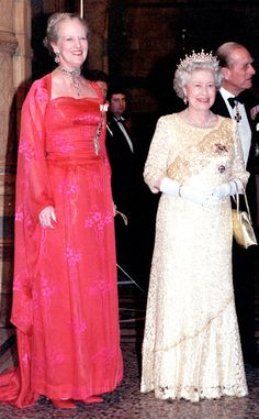 2000 from Queen Elizabeth II's Royal Style Through the Years  Queen Elizabeth II—in a cream-lace gown—and Queen Margrethe of Denmark greeted guests at a reception in London's Natural History Museum.