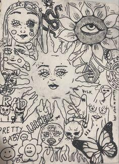 Indie Drawings, Cool Art Drawings, Art Drawings Sketches, Hippie Art, Hippie Drawing, Art Inspo, Art Journal Inspiration, Trash Art, Grunge Art