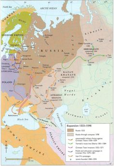 A map of Muscovy Russian expansion from 1533-1598 under Ivan the Terrible. The Russian empire expanded its territory into Siberia by 1598 with the help of Yermak, who invaded deeper into eastern Siberia and helped colonize it. With the expansion of the Russian empire, more of Siberia was gained. Through Siberian land, Russians were able to reach the Pacific in 1639, which the English and Dutch were unable to achieve.