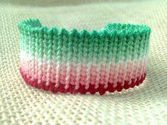 Friendship Bracelet  Green to Red Fancy Pattern by FriendsnMe, $8.00