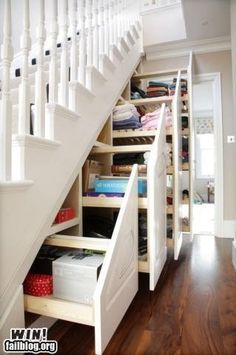 UNDER THE STAIRS HIDDEN STORAGE    Great idea for the basement by josefa