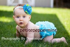 Turquoise Baby Bloomer Diaper Cover and headband set. $10.95, via Etsy.