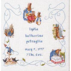 Peter Rabbit Cross Stitch Patterns | ... peter rabbit birth sampler victoria house baby cross stitch patterns