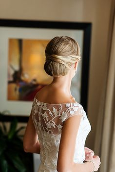 Memorandum's Mary Orton Wisconsin Wedding, Bride with Low Bun | Brides.com