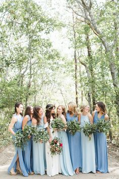 Long gone are the days of perfectly coordinated bridesmaids. If you want your 'maids to choose their own dress, look to these bridal parties for inspiration.