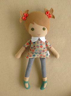 Custom Listing for lolygag19 - Fabric Doll Rag Doll Light Brown Haired Girl in Retro Floral Dress